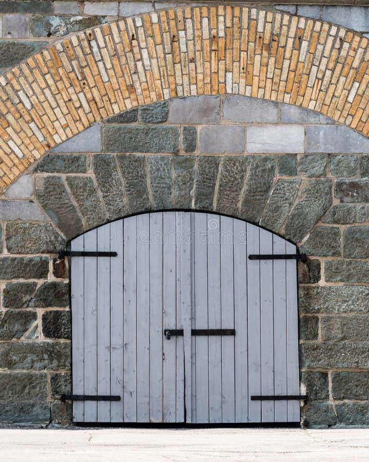 Closed Door at The Citadel in Quebec City. Quebec, Canada stock photo
