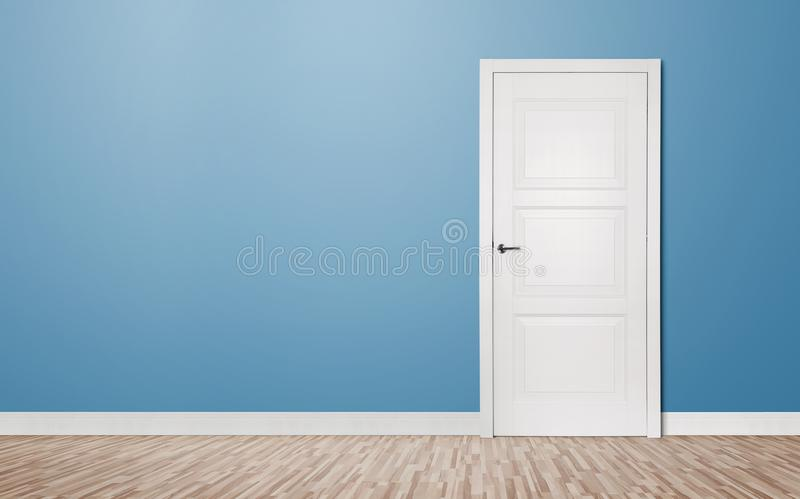 Close up of closed wooden door in the empty room with copy space & Closed Door In The Empty Room Stock Image - Image of clean empty ...