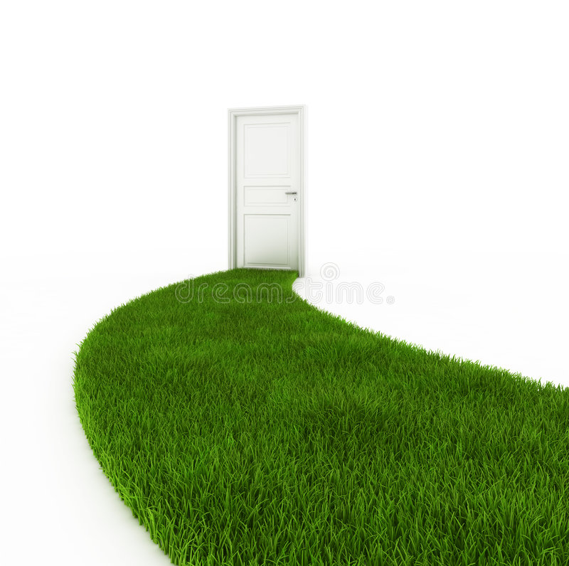 Closed door with grass footpath