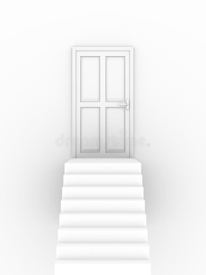 Closed door stairs stock illustration