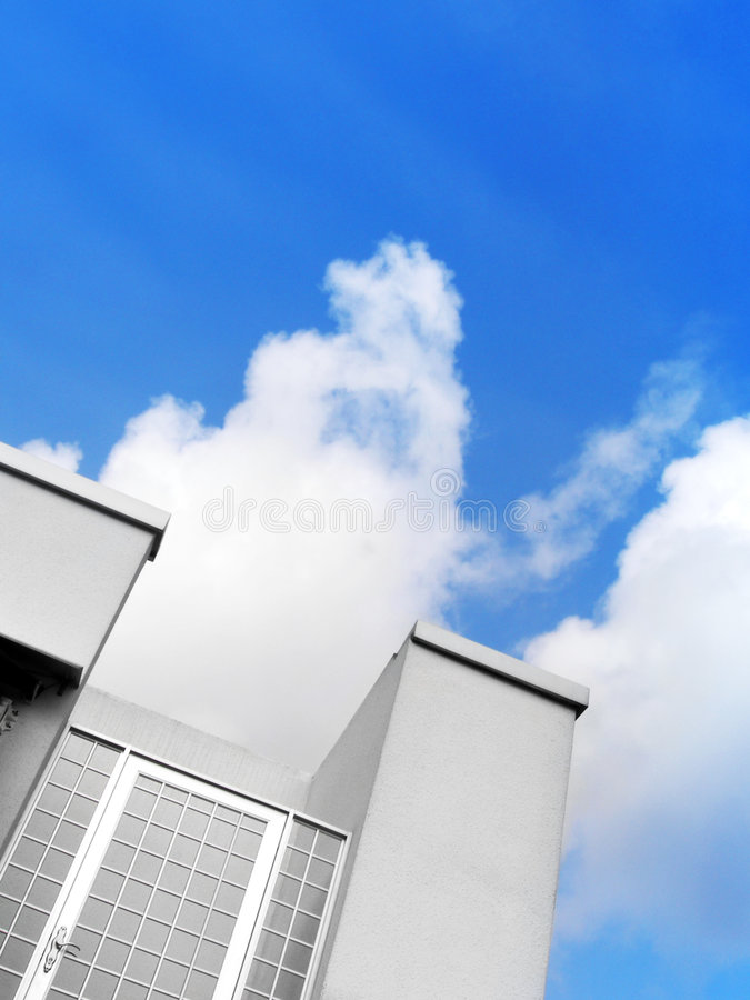 Closed door to sky stock photography
