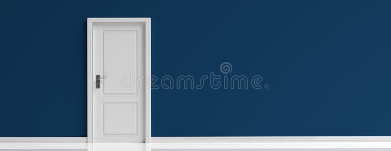 Closed door white on dark navy blue wall background, banner. 3d illustration royalty free illustration