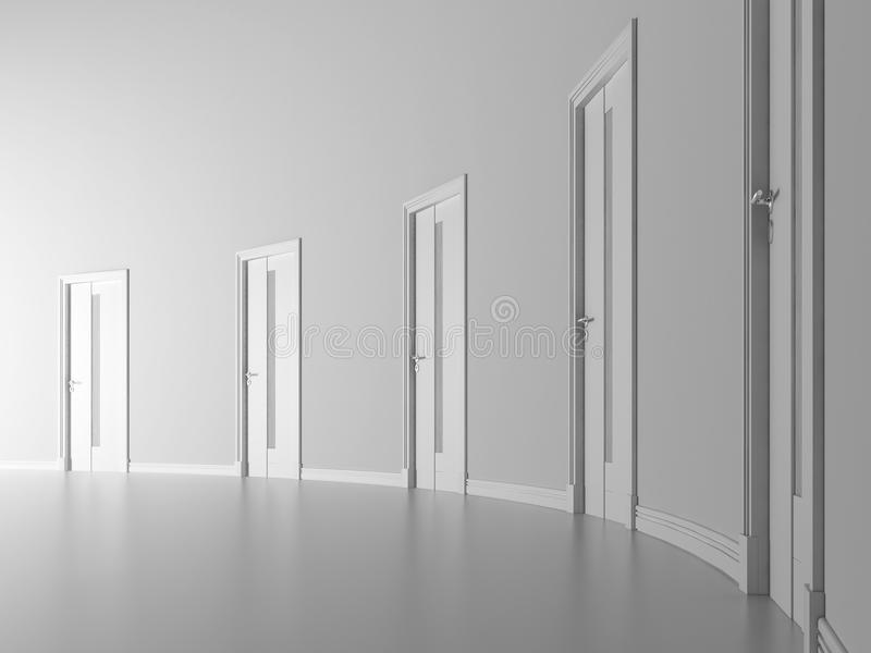 Closed doors in white room royalty free illustration