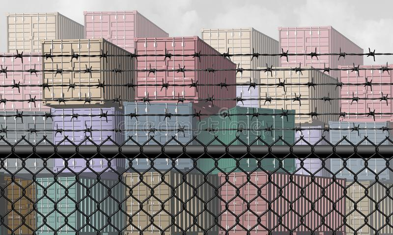 Closed Economy Concept. Closed economy and barrier to trade and economic restrictions as a fence restricting import and export commerce and global trading stock illustration