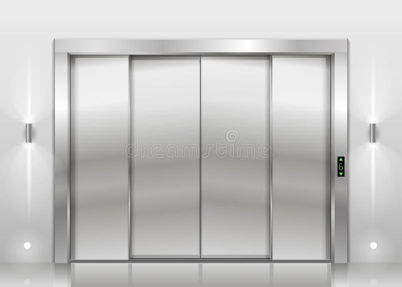 Download Closed Elevator Doors Stock Vector. Illustration Of Hallway    76296421