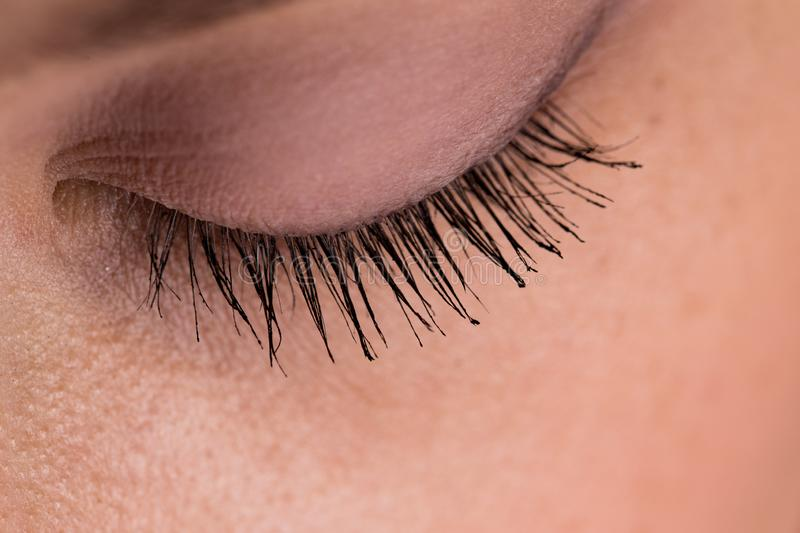 Closed eye with colored lashes closeup royalty free stock image