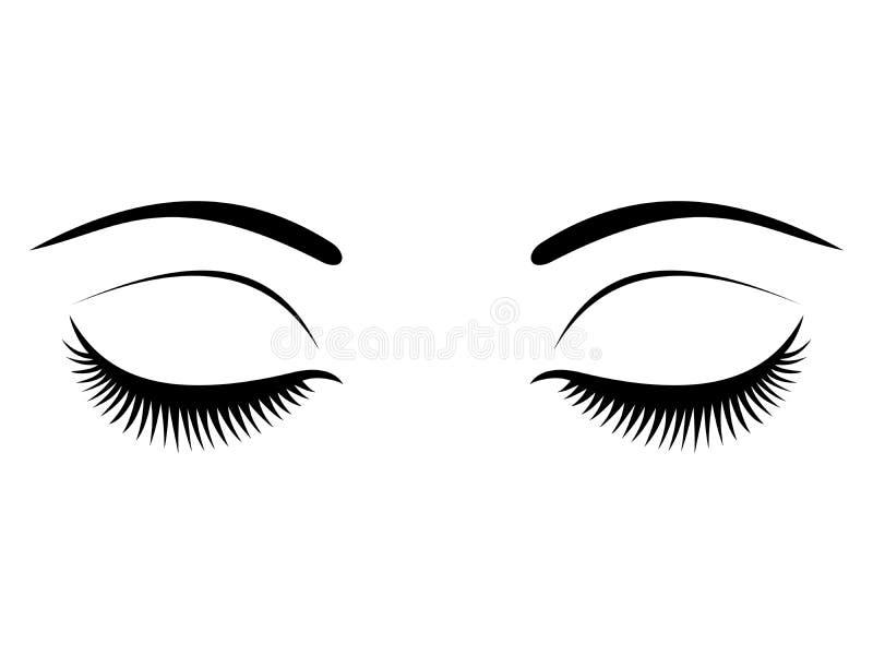 Closed eyes with black eyelashes on a white background. vector illustration