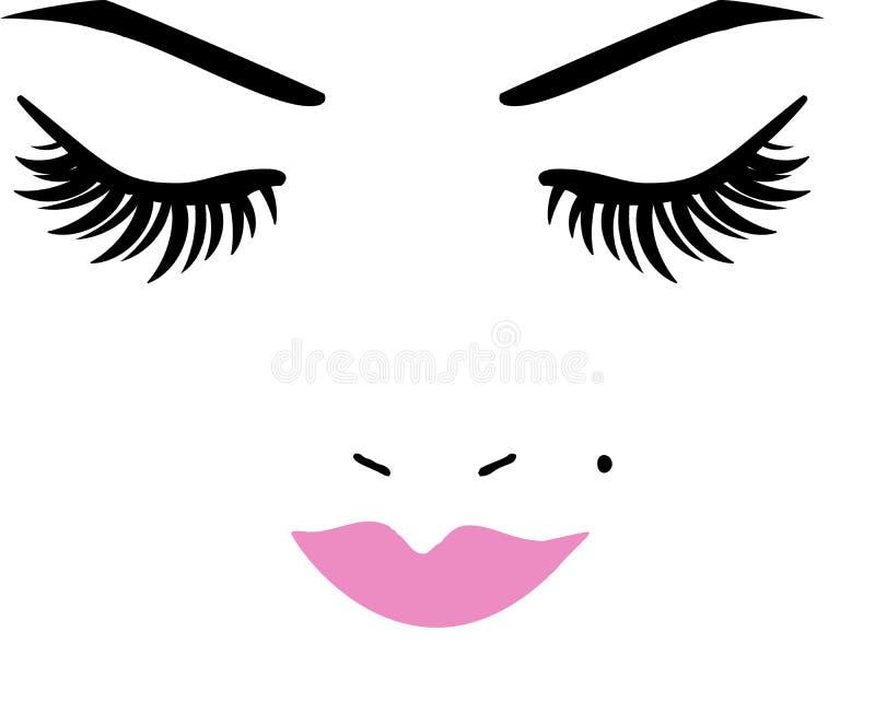 Closed Eyes and lips. Eyes and lips long eyelashes royalty free illustration