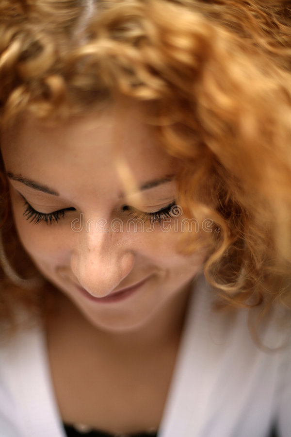 Closed Eyes Of Shy Happy Young Redhead Woman Stock Photo -3325