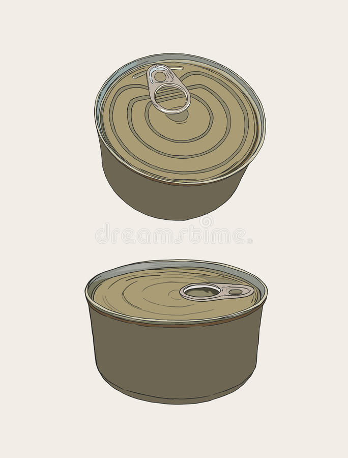 Closed food tin cans, sketch vector. Closed food tin cans, packaging of food sketch vector stock illustration