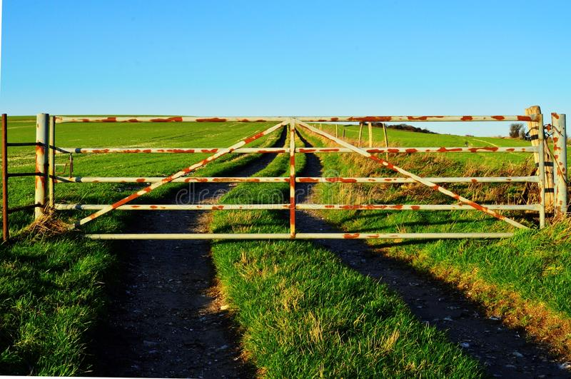 Closed Gate in Countryside stock image