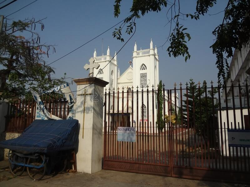 Closed Gates of Christ the King church.May 3 2020.Coimbatore, Tamilnadu, India. Closed Gates of Christ the King church located at Dr.Nanjappa road .May 3 2020 stock images