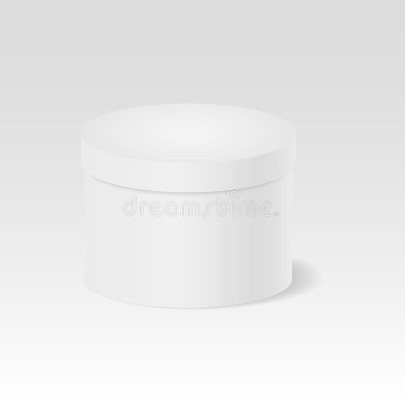 Closed gift box. White round closed box. Package. 3D. Cylinder. Vector illustration. stock illustration