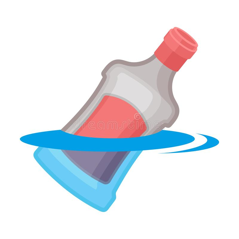 Glass bottle with the label floats in water. Vector illustration on white background. stock illustration