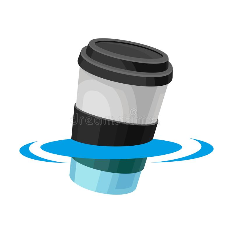 Closed glass floats in water. Vector illustration on white background. Closed plastic cup with a black lid and label floats in water. Vector illustration on vector illustration