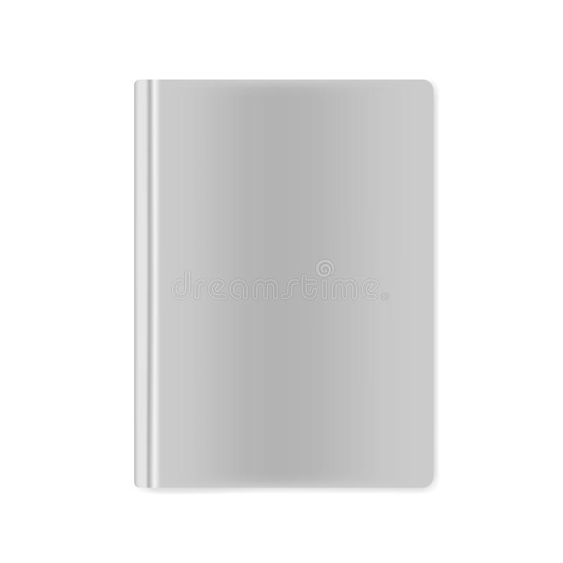 Closed hardcover book blank front top view, vector mockup vector illustration