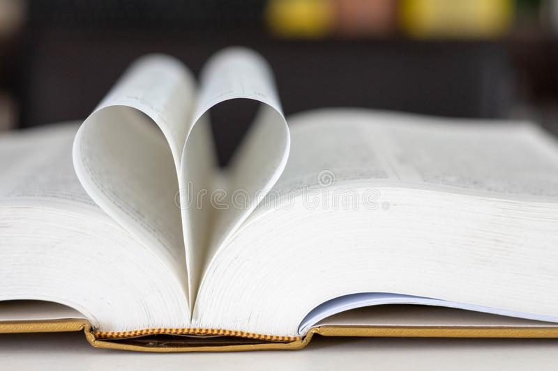 .Closed heart shape from the book stock photos