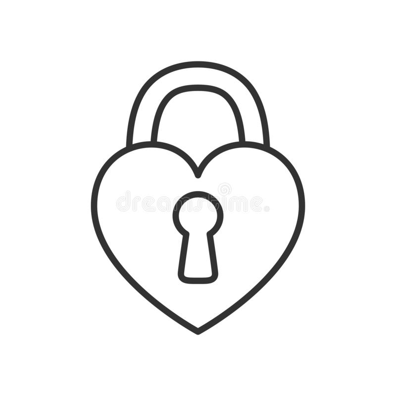 Heart Padlock Outline Flat Icon on White royalty free illustration