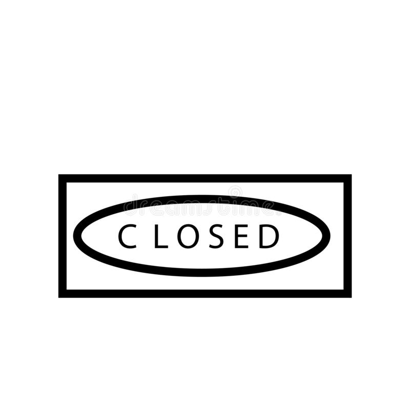 Closed icon vector isolated on white background, Closed sign , line or linear sign, element design in outline style royalty free illustration