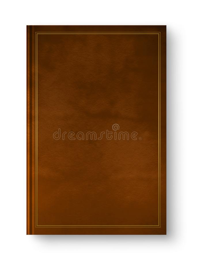 Closed leather blank book with frame isolated on white royalty free stock photo