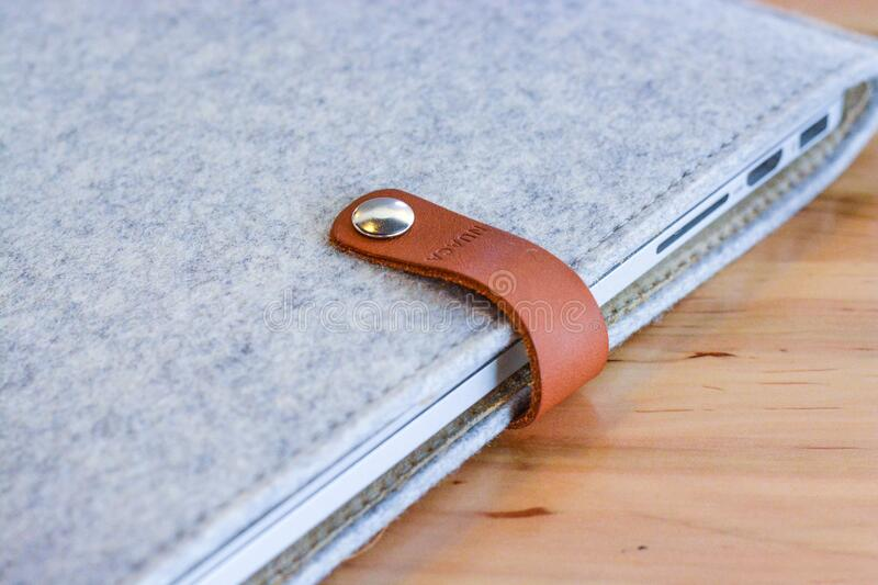 Closed leather laptop case royalty free stock photo