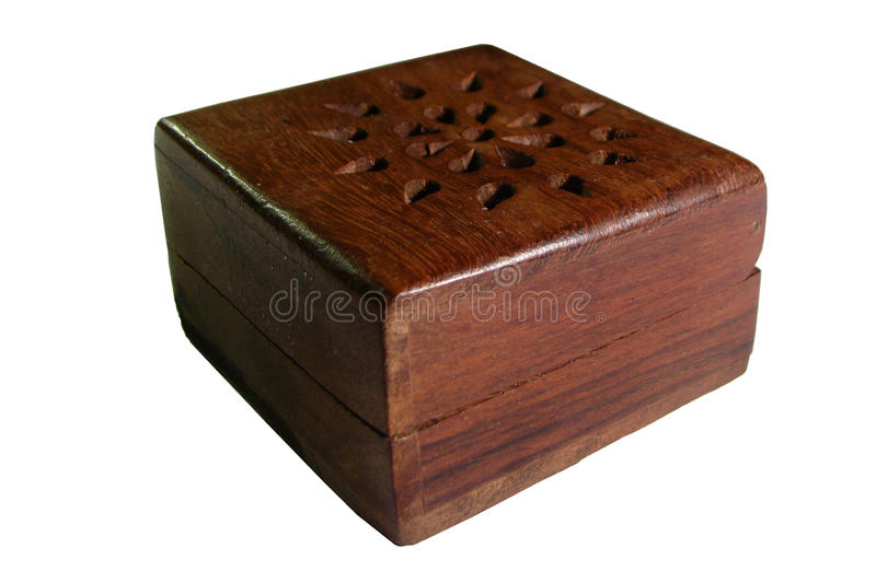 Closed little wooden box stock photos