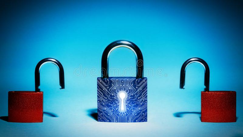 Concept of network security, virus protection, data protection. Closed lock is in the center. Two hacked lock are on each side. Concept of network security royalty free stock image