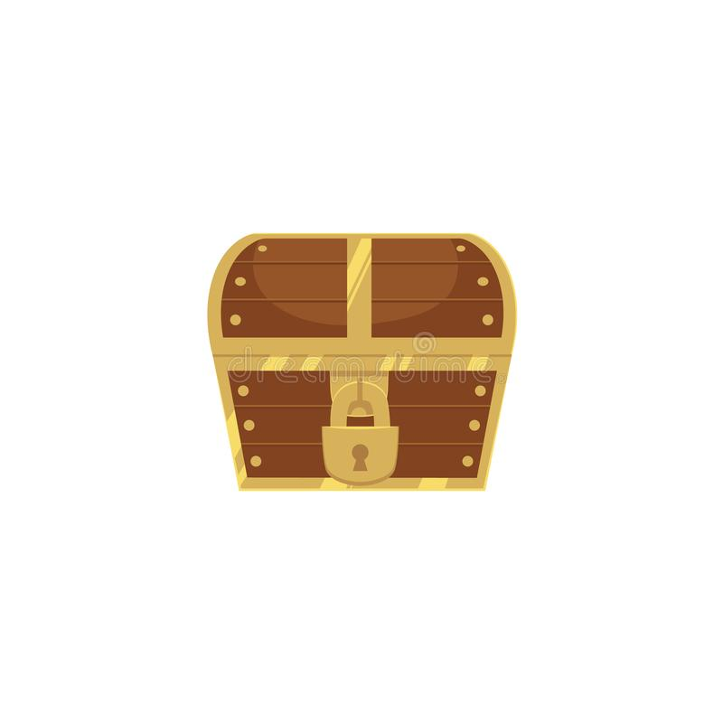 Closed and locked wooden pirate treasure chest royalty free illustration
