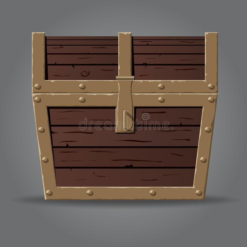 Closed and locked wooden pirate treasure chest, stock illustration