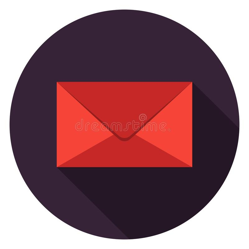 Closed mail icon in flat design. stock illustration