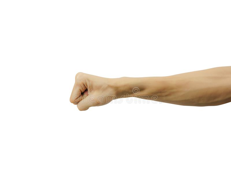 Closed of man hand or fist and punch isolated on white background stock photography
