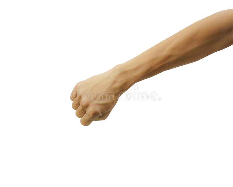 Closed of man hand or fist and punch isolated on white background. Carefully cut out by pen tool and insert clipping path royalty free stock images