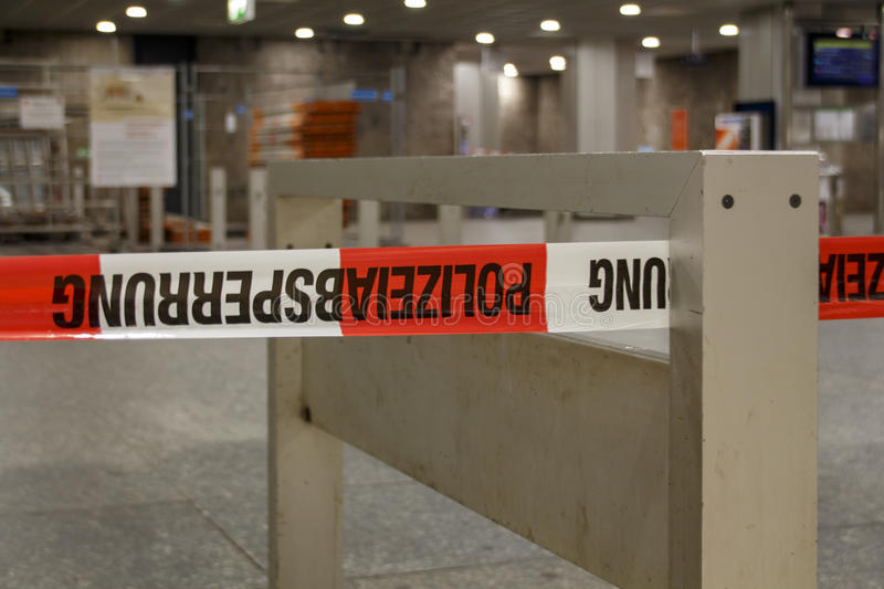 Closed metro station in Munich, Germany, 2015. The metro station at Karlsplatz (Stachus) in Munich was closed due to an unknown reason and barrier tape of the stock photos