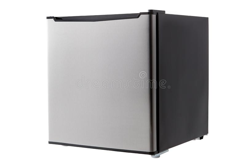 Closed mini refrigerator stainless steel and black cut out on white background stock image