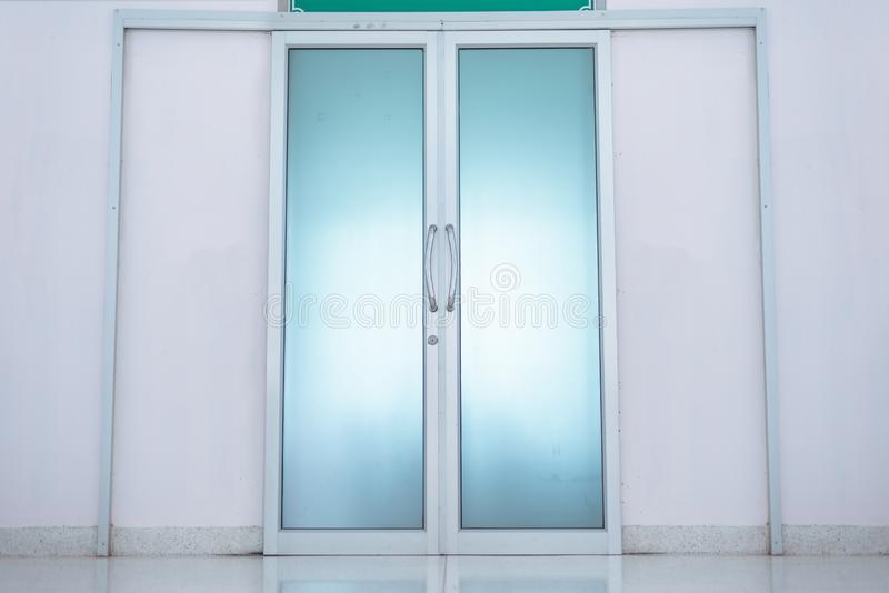 Closed doors in the operating room royalty free stock photography