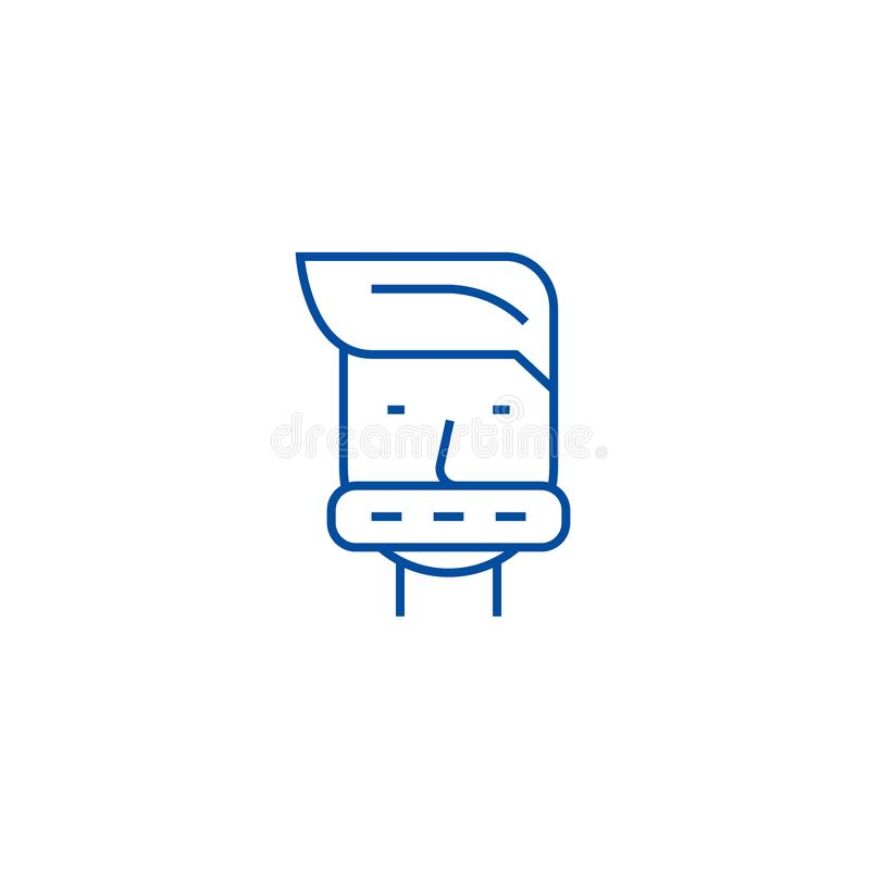 Closed mouth line icon concept. Closed mouth flat  vector symbol, sign, outline illustration. stock illustration