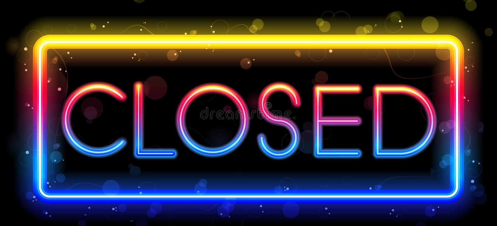 Download Closed Neon Sign stock vector. Image of glass, night - 15918384