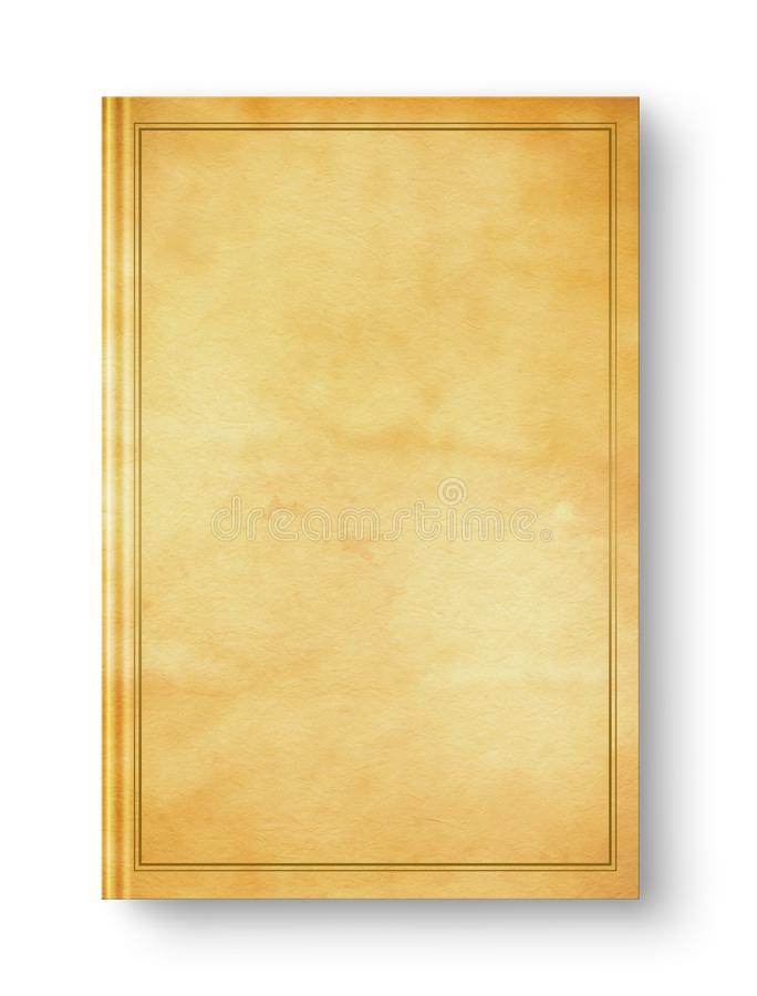 Closed old blank book with frame isolated on white royalty free stock image