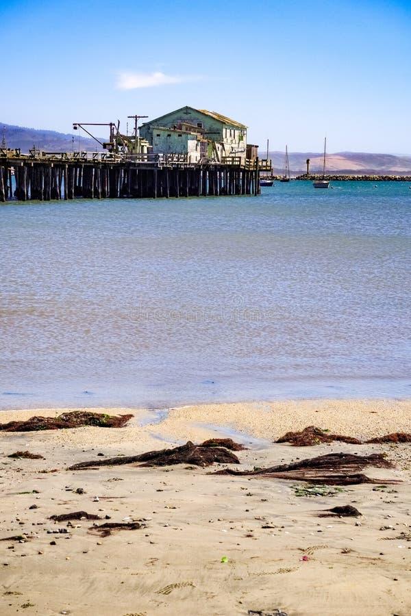 Closed old fishing pier in Pillar Point Harbor, Half Moon Bay, California stock images