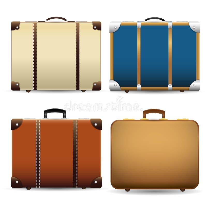 Closed old retro vintage suitcase. royalty free illustration