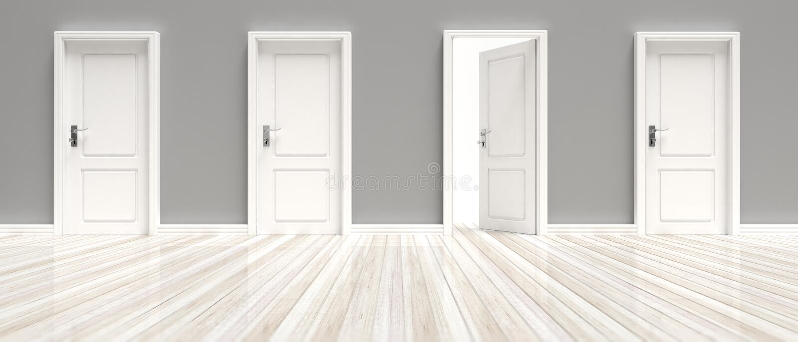 Closed and open doors on grey wall and white wooden floor background, banner. 3d illustration stock illustration