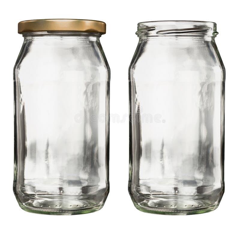 Empty glass jars royalty free stock photo