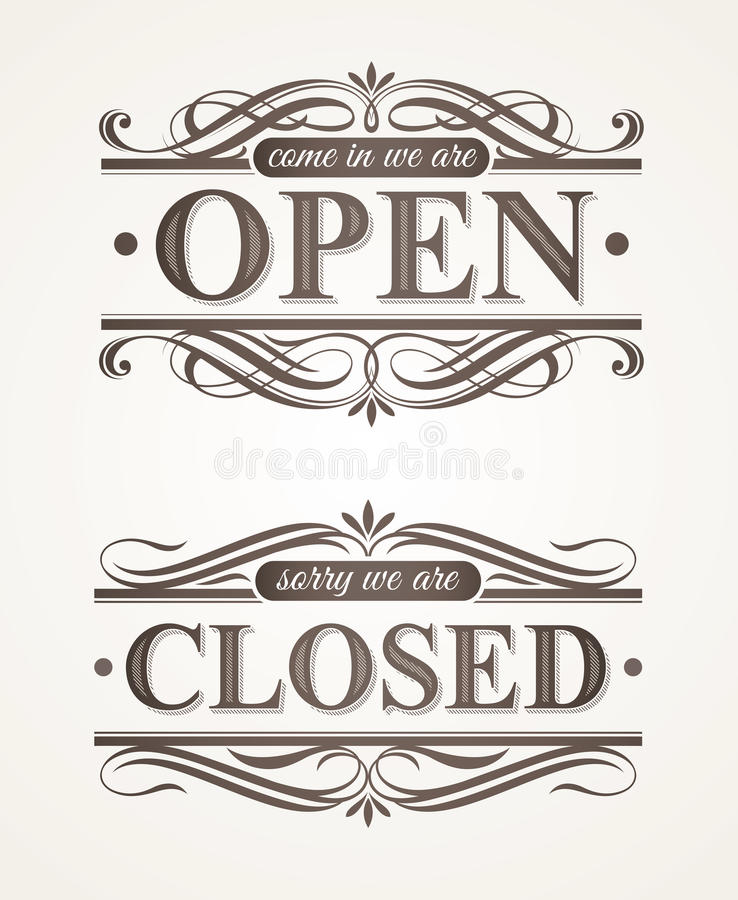 Closed and Open ornate retro signs stock illustration