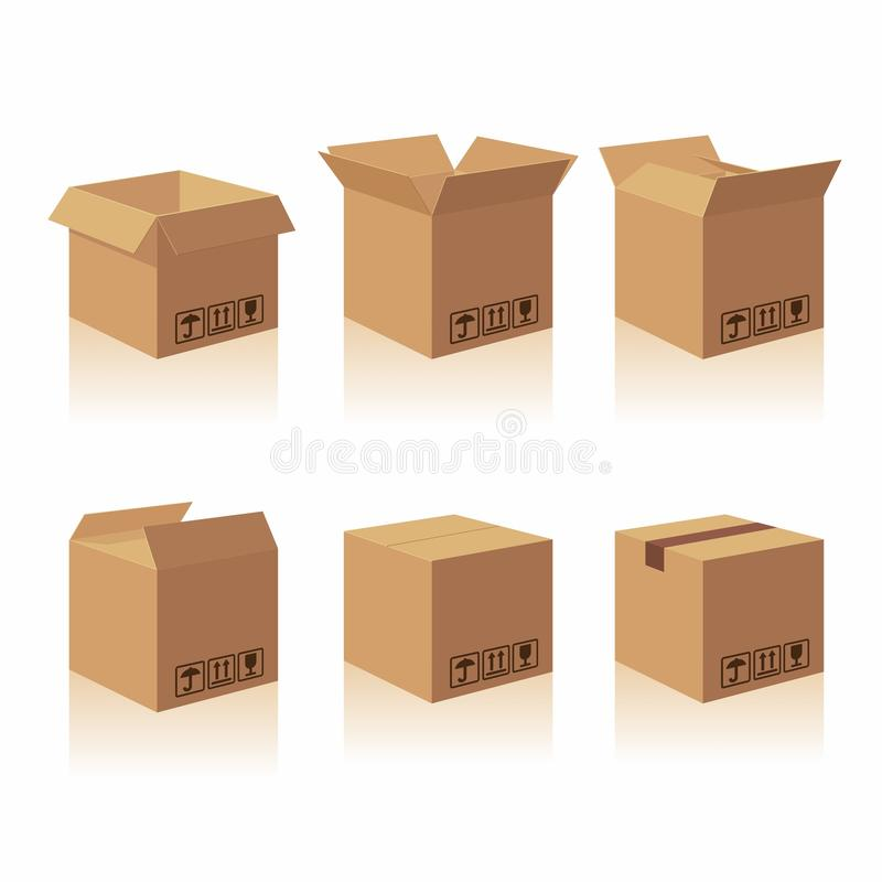 Closed and open recycle brown carton delivery packaging box with fragile signs. vector illustration