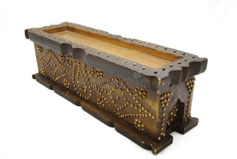 Closed Ornate Pine Box royalty free stock photo