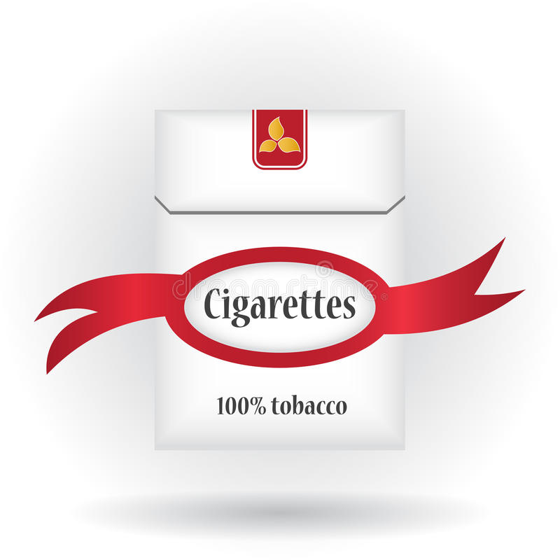 Closed pack of cigarettes. Cigarettes pack icon. Cigarettes pack with ribbon. Cigarettes pack illustration stock photography