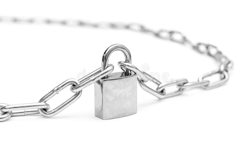 Closed padlock with chains stock image