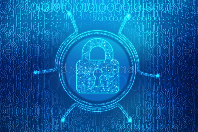 Closed Padlock on digital background, Cyber Security and internet Security Background stock illustration