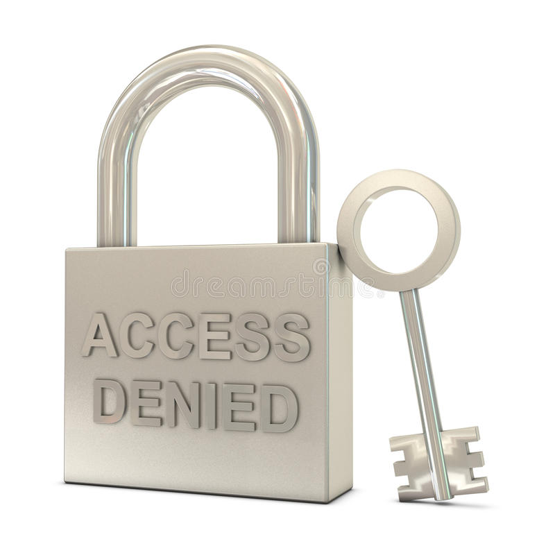 Download Closed Padlock, Key And Access Denied Text Stock Illustration - Image: 19361211