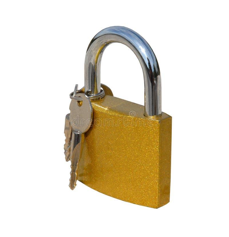 Closed padlock with keys on white stock photos